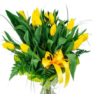 bukiet z 15 żółych tulipanów