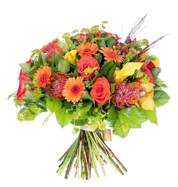 piękny pomaranczowy bukiet kwiatow